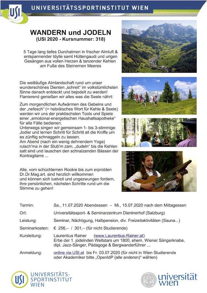 USI-Kurs: Wandern und Jodeln Juli 2020