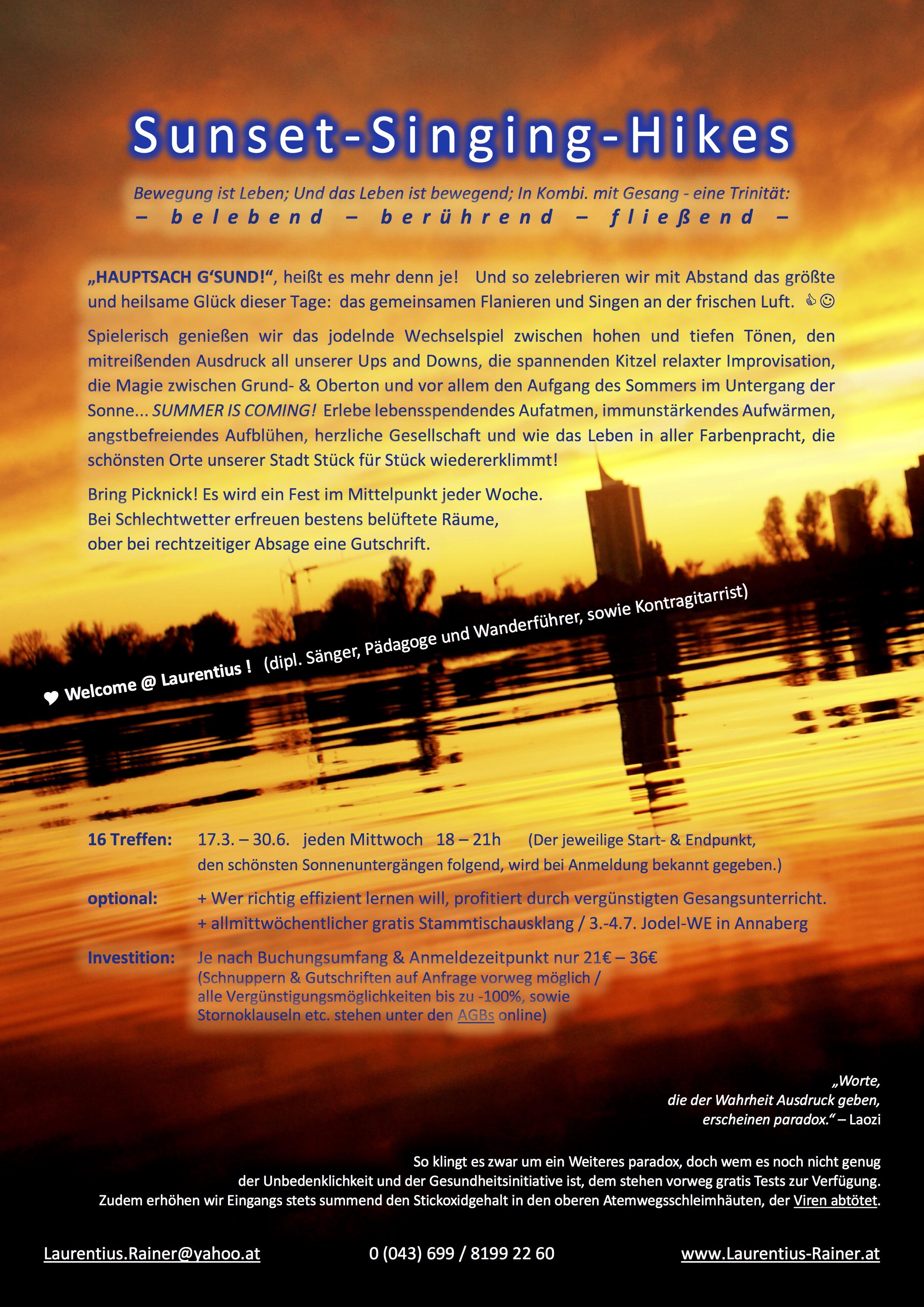 Gesangskurs Sunset-Singing-Hikes 2021